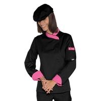 Veste Chef Femme Snaps Noir Fuchsia Polycoton