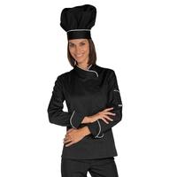Veste Chef Femme Snaps Noir Blanc Polycoton