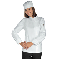 Veste Chef Femme Snaps Blanc 100% Coton