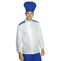 Veste Chef Cuisinier Malaga Blanc Bleu Cyan Polycoton
