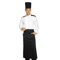 Veste Chef Cuisinier Malaga Blanc Noir 100% Coton