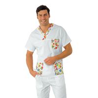 Casaque Médicale Col en V Unisexe Blanc smile