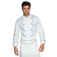 Veste Chef Cuisinier Blanc et Bleu Cyan