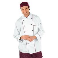 Veste Chef Cuisinier Blanc et Bordeaux