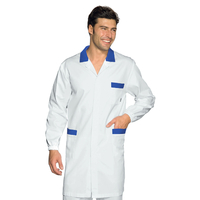 Blouse Médicale Homme Toronto Blanc Bleu Cyan 100% Coton