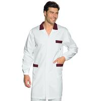 Blouse Médicale Homme Toronto Blanc Rayé Bordeaux 100% Coton