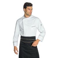 Veste Chef Cuisinier Wimbledon Blanc Liseré Noir 100% Coton