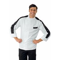 Veste Chef Cuisinier Manhattan Blanc et Noir 100% Coton