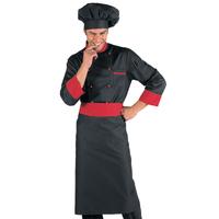 Veste Chef Cuisinier Noir et Rouge