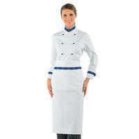 Veste de cuisine Femme blanche boutons bleu Col Euro 100% Coton