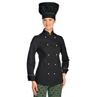 Veste de Cuisine Femme Ultra Légère Noir Liseré Vert Pomme
