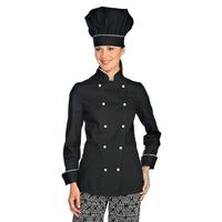 Veste de Cuisine Femme Ultra Légère Noir Liseré Blanc