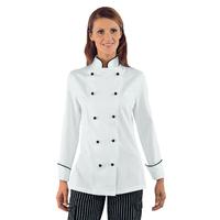 Veste de Cuisine Femme Granchef Blanc Liseré Noir 100% Coton