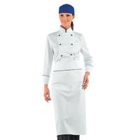 Veste blanche de cuisine Femme avec liseré Bleu 100% Coton