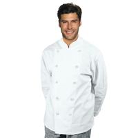 Veste Chef Cuisinier Livorno Boutons Plats Blanc 100% Coton