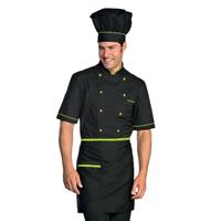 Veste Chef Cuisinier Alicante Noir Vert Pomme