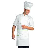 Veste Chef Cuisinier Alicante Blanc Vert Pomme 100% Coton