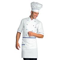 Veste Chef Cuisinier Alicante Blanc Bleu Cyan 100% Coton