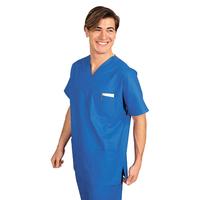 Casaque Médicale Manches Courtes Col en V 100% Coton Unisexe Bleu
