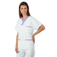 Casaque Médicale Col en V 100% Coton Unisexe Blanc Lilas