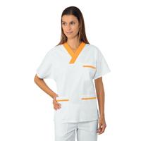 Casaque Médicale Col en V 100% Coton Unisexe Blanc Abricot