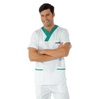 Casaque Médicale Col en V 100% Coton Unisexe Blanc Vert