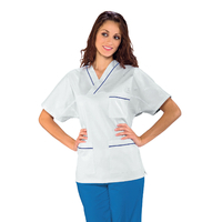 Casaque Médicale Col en V 100% Coton Unisexe Blanc profilo Bleu Cyan