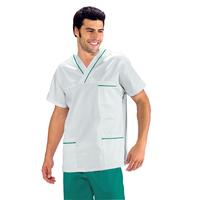 Casaque Médicale Col en V 100% Coton Unisexe Blanc profilo Vert