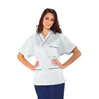 Casaque Médicale Col en V 100% Coton Unisexe Blanc profilo Bleu