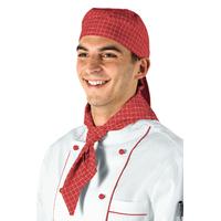 Tour de Cou Triangle boucher traiteur Blanc Carreaux Rouge