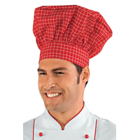 Toque de chef cuisinier blanc carreaux rouge