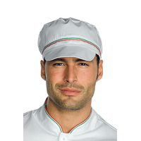 Casquette blanche de cuisine charly avec filet et finition italie