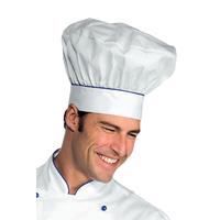 Toque de chef cuisinier blanc bleu cyan
