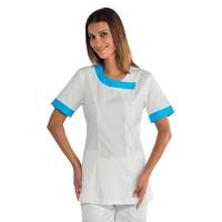 Tunique médicale blanche et bleu azur