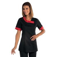 Tunique médicale noire et rouge