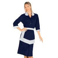 Blouse Femme De Chambre et Tablier Bleu et Blanc 100% Coton
