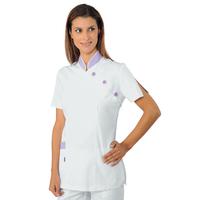 Tunique Médicale Saigon Blanc Lilas 100% Coton