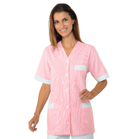 Tunique infirmiere Medina Manches courtes Blanc Rayé Rose 100% Coton