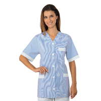 Tunique aide soignane Medina Manches courtes Blanc Rayé Bleu 100% Coton