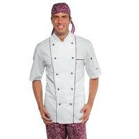 Veste cuisine blanche et bordeaux manches courtes