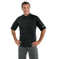 Veste de cuisine noire à manches courtes, coupe Slim
