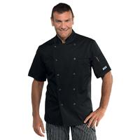 Veste de cuisine noire manches courtes et boutons pression