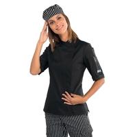 Veste de cuisine noire pour Femme à manches courtes