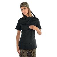Veste cuisine noire pour Femme Tissu Extra léger
