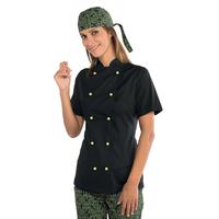 Veste de cuisine noire  pour Femme Tissu Extra léger