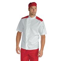 Veste de boucher charcutier traiteur Malaga Blanc Rouge 100% Coton