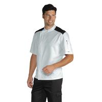 Veste De Cuisinier Malaga Blanc Noir 100% Coton