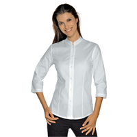 Chemise Stretch Col Mao Manches 3/4 Blanche