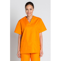 Tunique médicale orange unisexe col en V