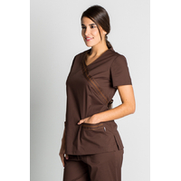 Blouse tunique médicale marron stretch